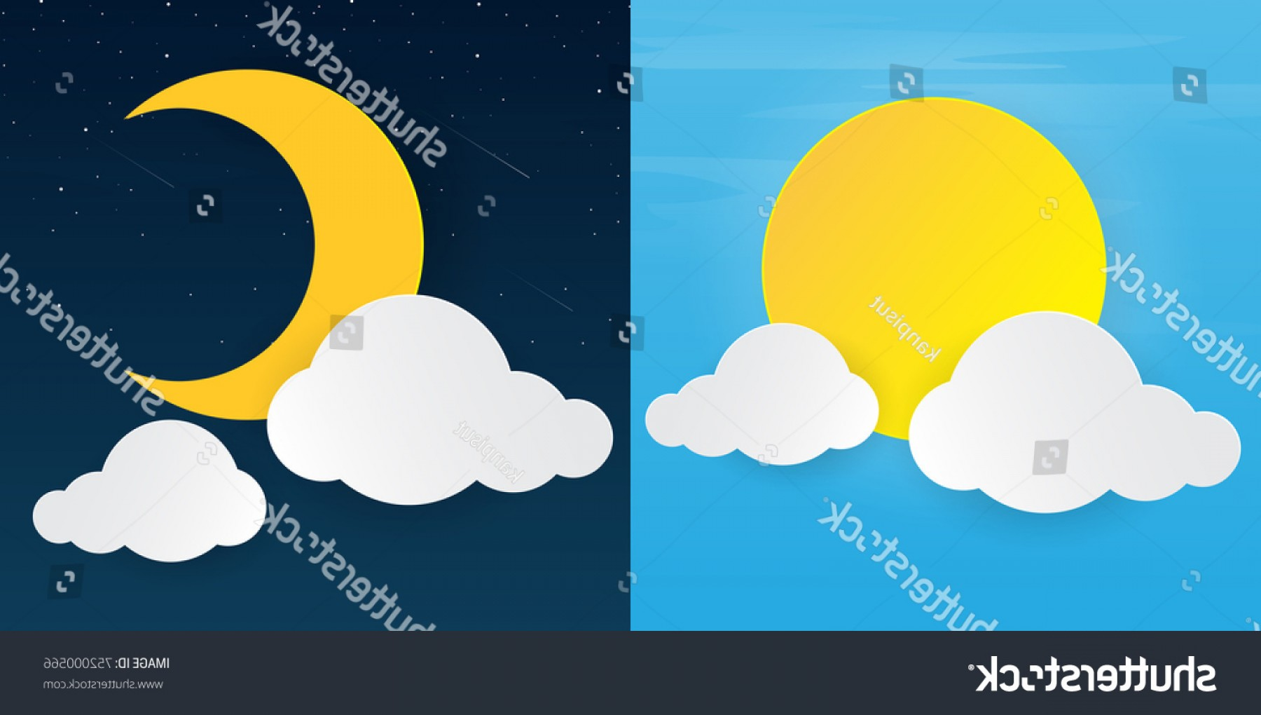 Clouds Backgrounds Vector: Sun Moonday Night Clouds Background Vector