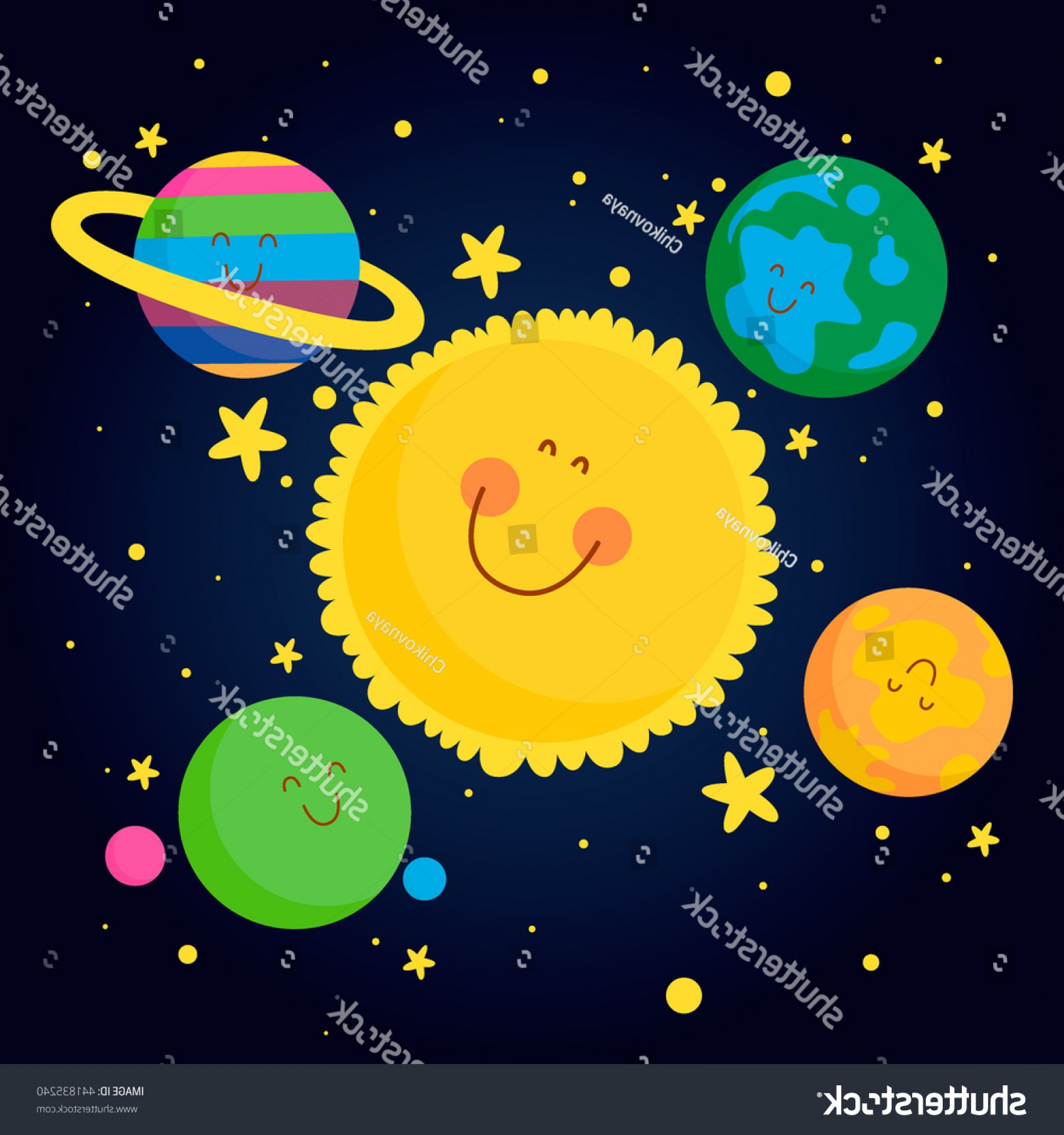 Space Vector Graphics: Sun Planets Stars Space Vector