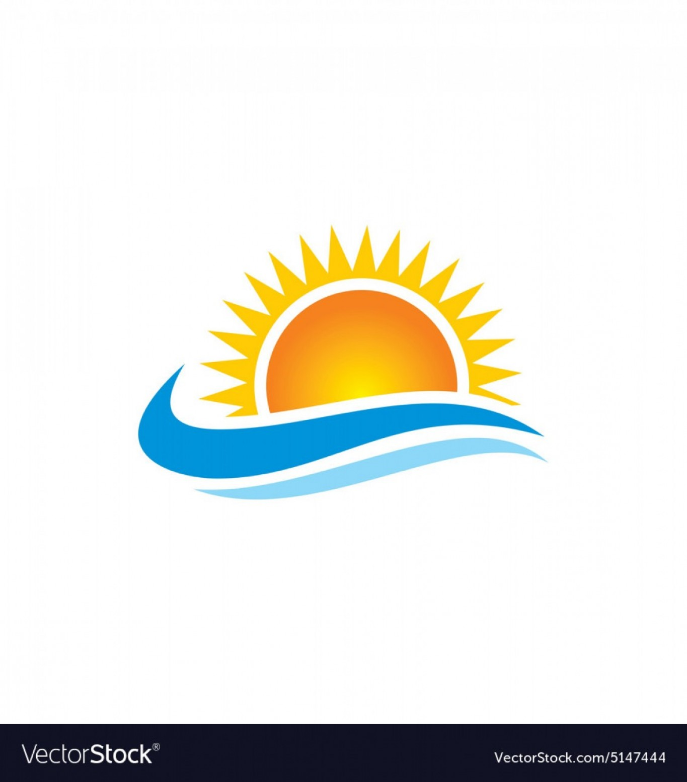 Ocean Water Clip Art Vector: Sun Shine Beach Ocean Water Logo Vector