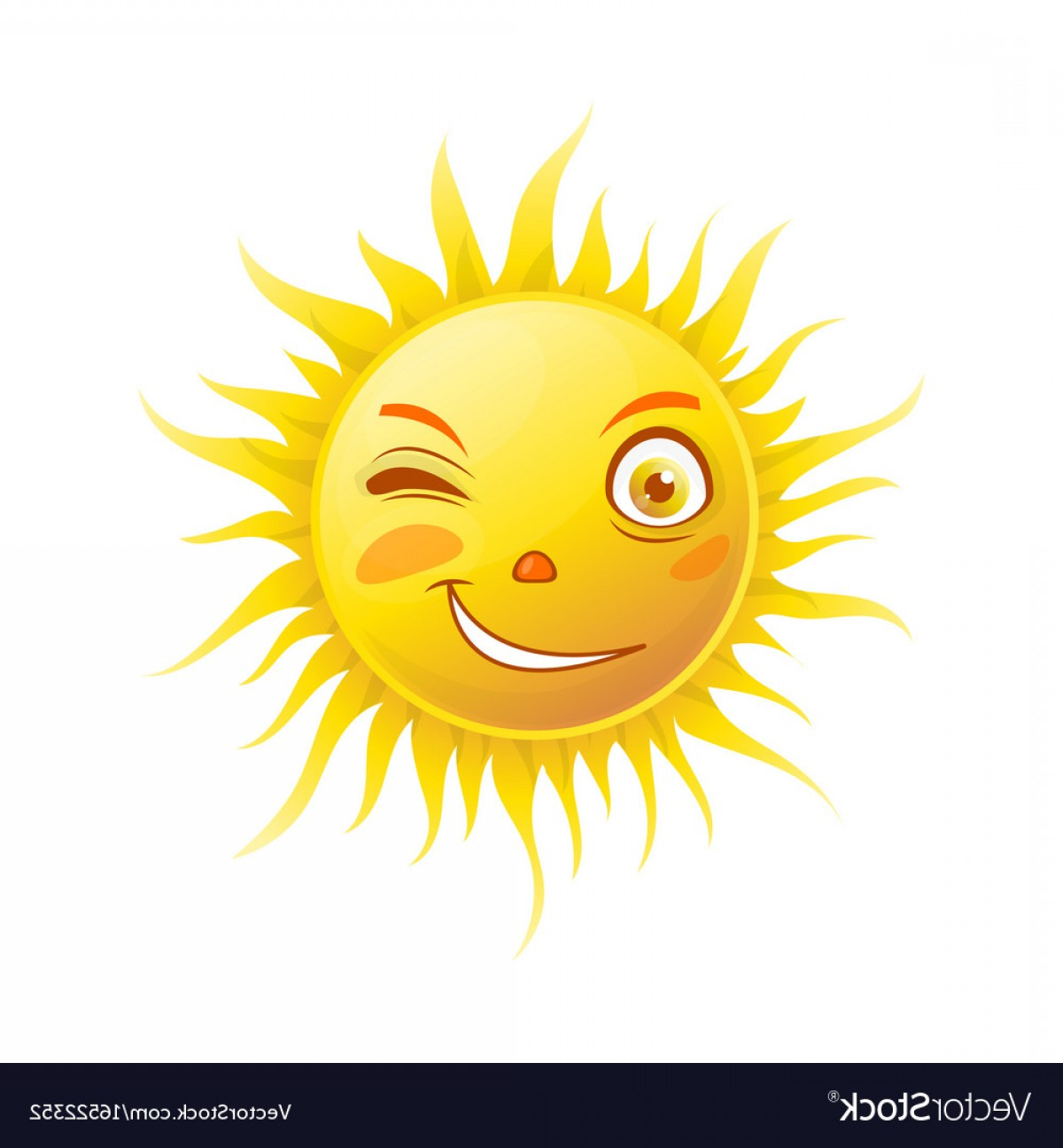 Popular Vector Emoji: Sun Smile Winking Cartoon Emoticon Summer Emoji Vector