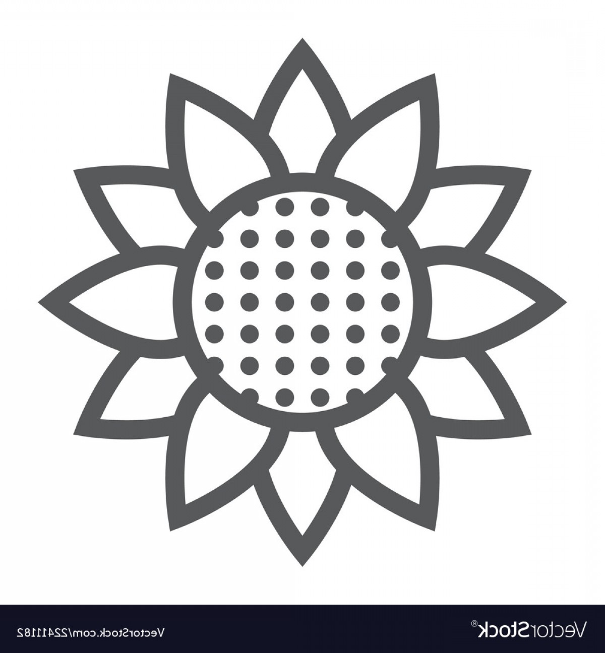 Floral Vector Icon: Sunflower Line Icon Nature And Floral Vector