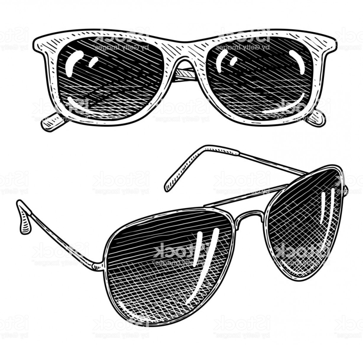 Aviator Vector Ink Drawings: Sunglass Illustration Drawing Engraving Ink Line Art Vector Gm