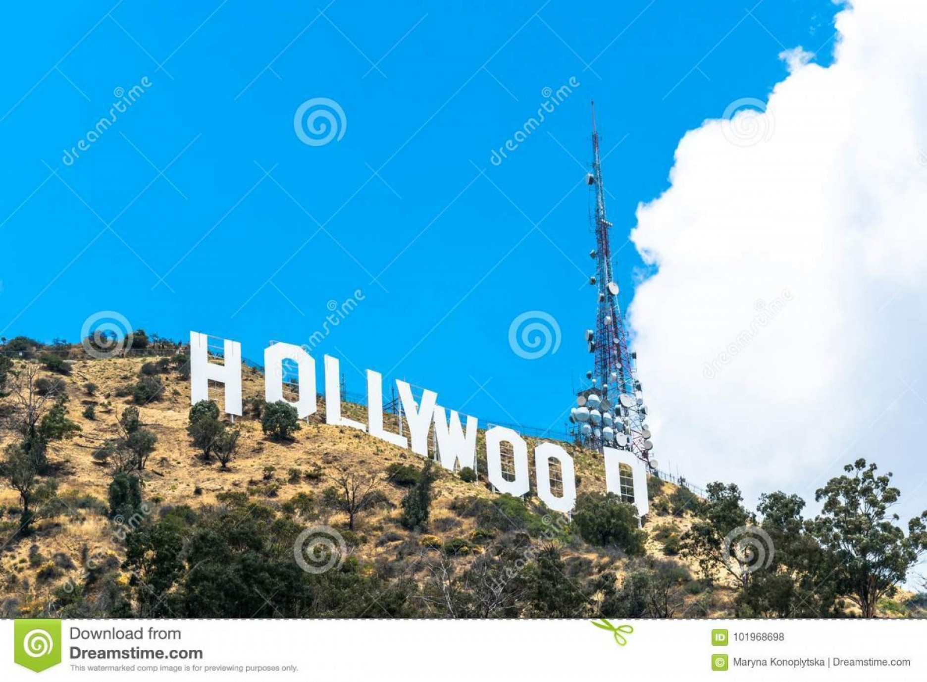 Hollywood Hills Vector: Sunny Hollywood Hills California Attractions Los Angeles Usa March Famous Symbol City Inscription Tourist Attraction Image