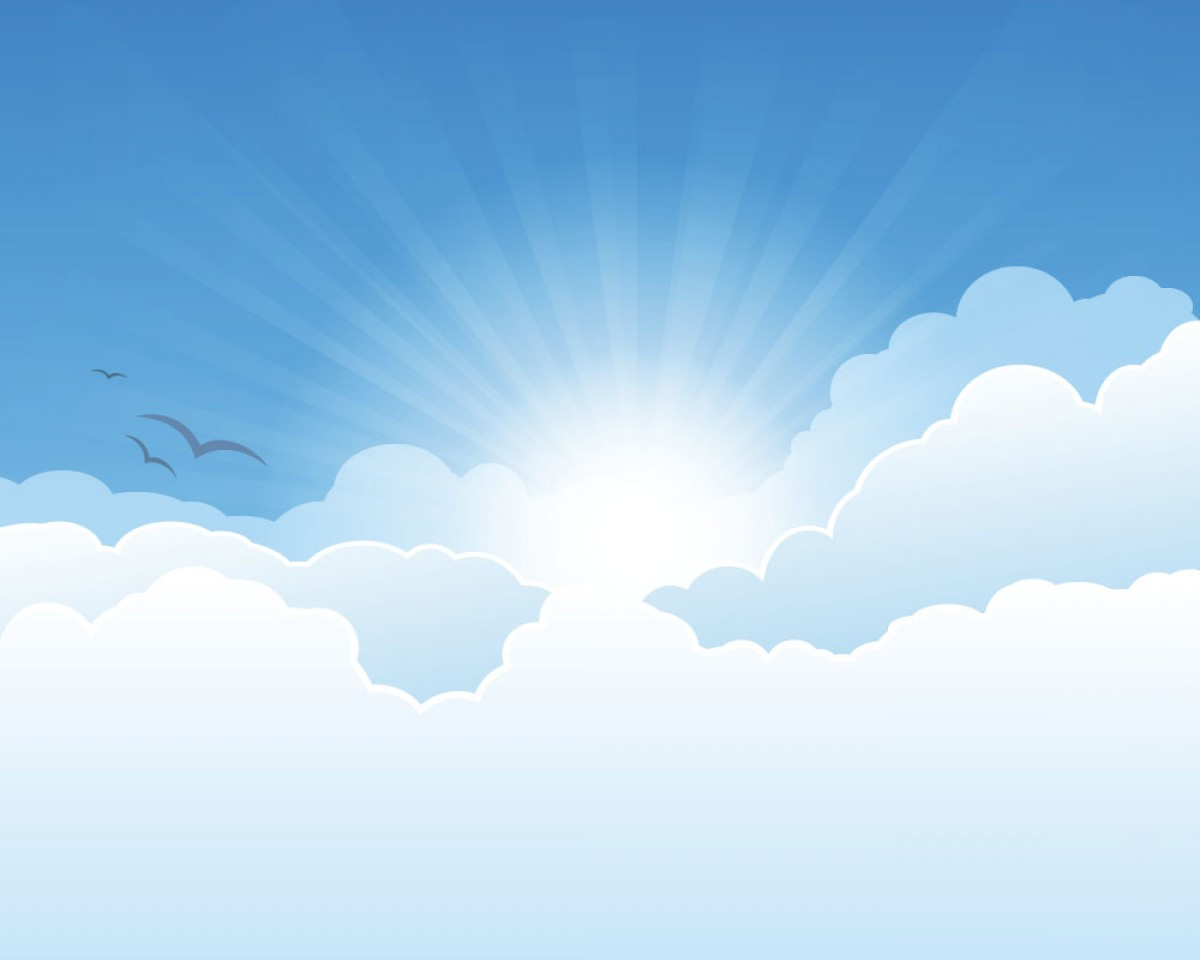 Clouds Backgrounds Vector: Sunny Sky And White Clouds Vector Backgrounds