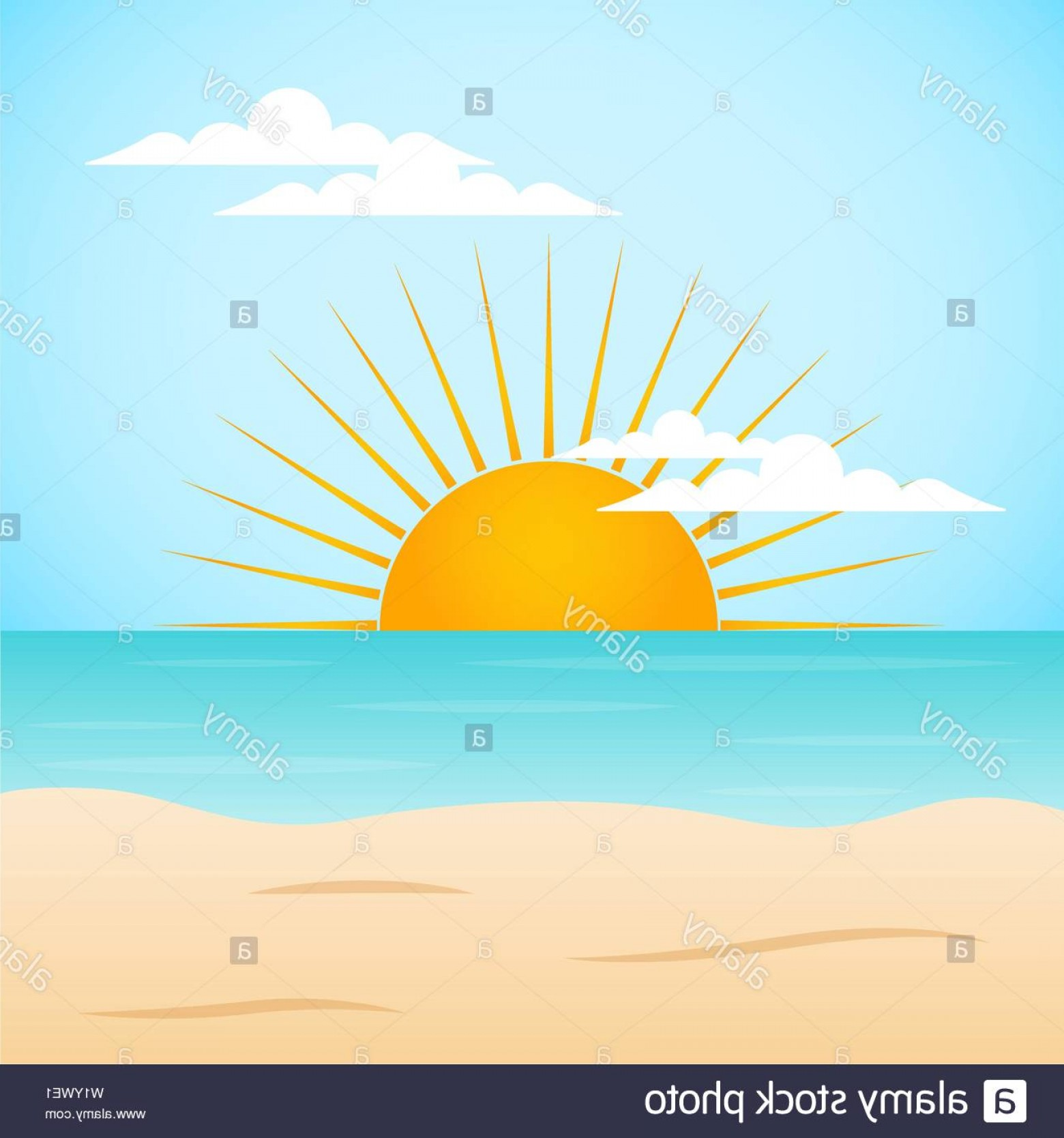 Sunset Beach Vector Outline: Sunset Beach Landscape With Sand And The Sea Vector Image