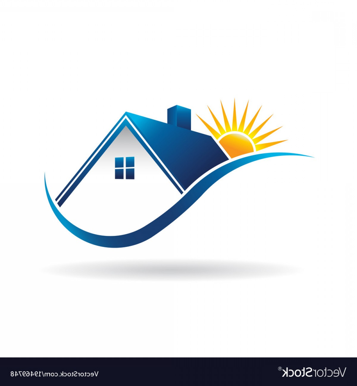 Home Logo Vector: Sunset Over Home Logo Vector