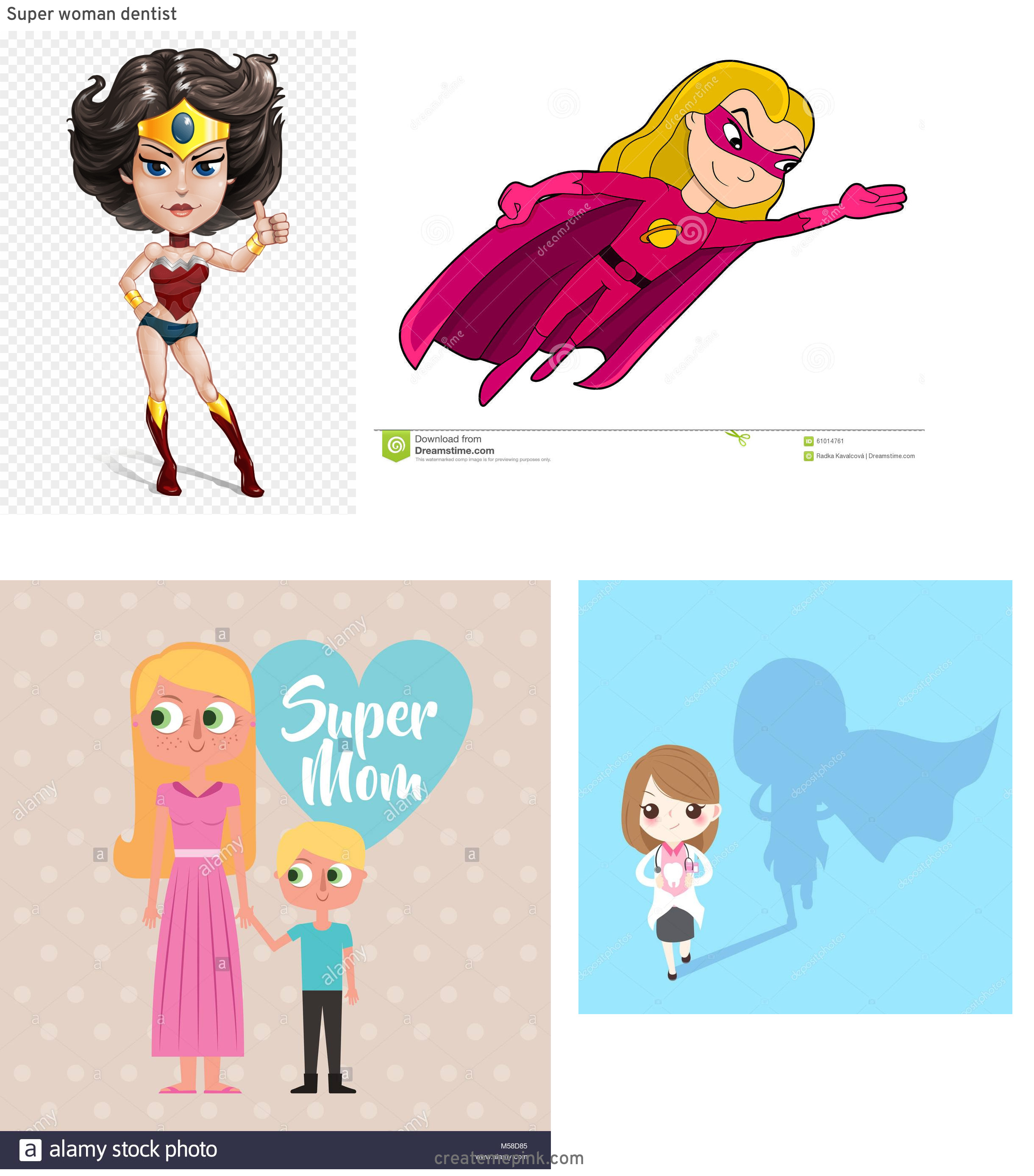 Super Cute Cartoon Girl Vector: Super Woman Dentist
