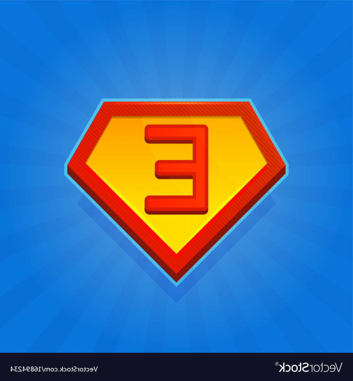 Flash Superhero Logo Vector: Superhero Logo Icon With Letter E On Blue Vector