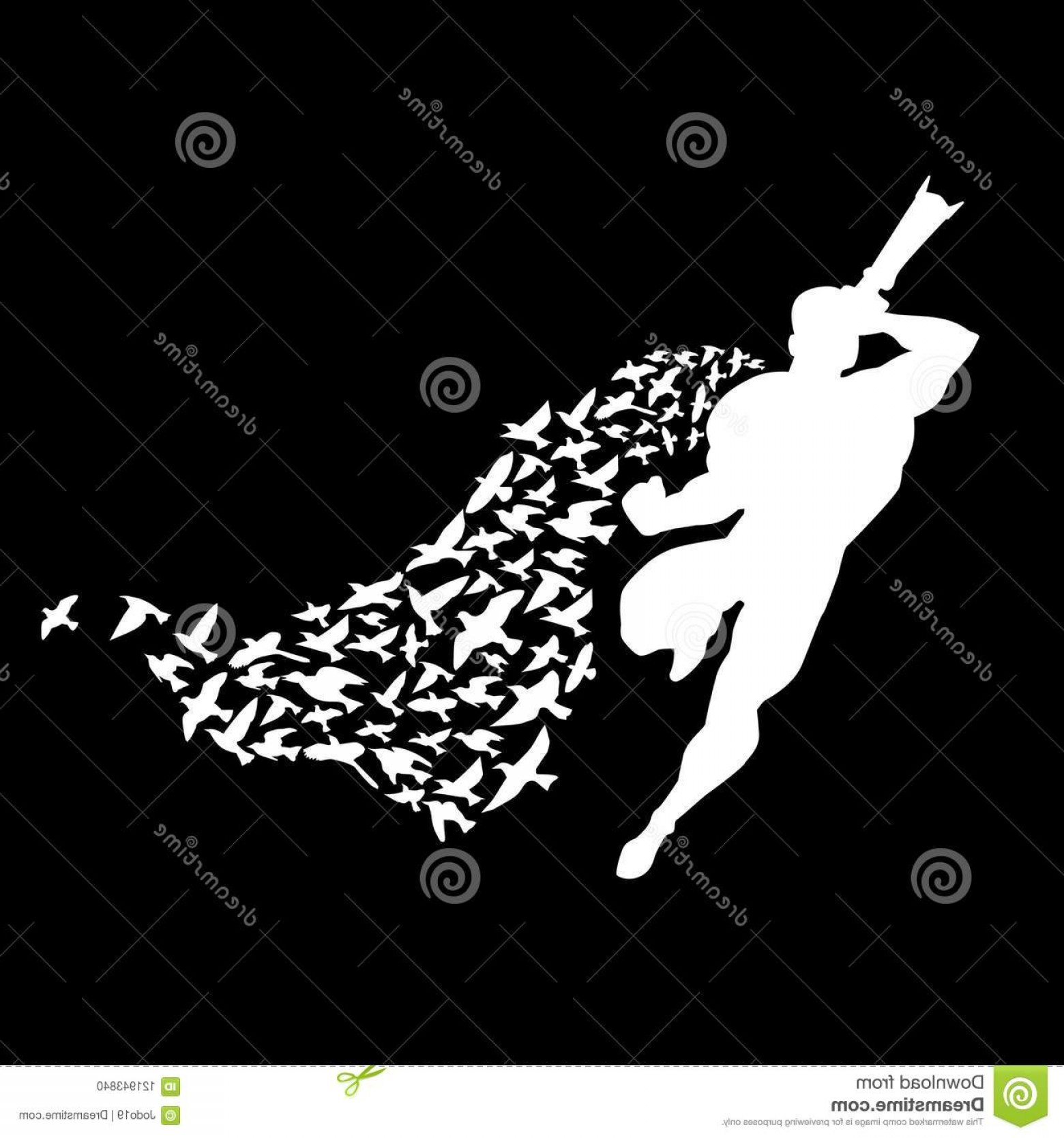 Superman Black And White Vector: Superman Photographer Cloak Birds Superman Photographer Cloak Birds White Silhouette Black Background Vector D Image