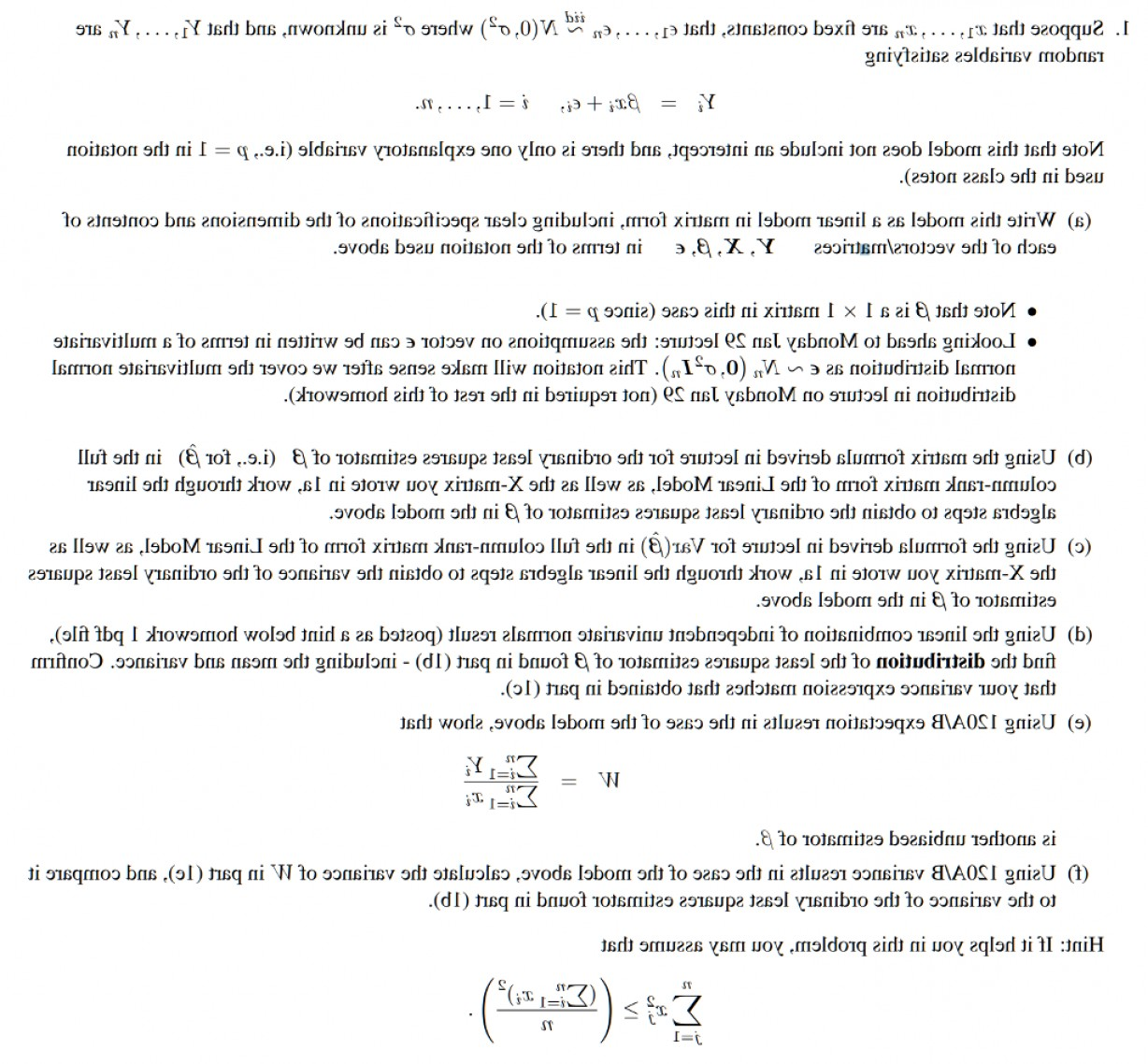 UN Specification Package Vector: Suppose Fixed Constants Q En Nd N Unknown Y Y Random Variables Satisfy Q