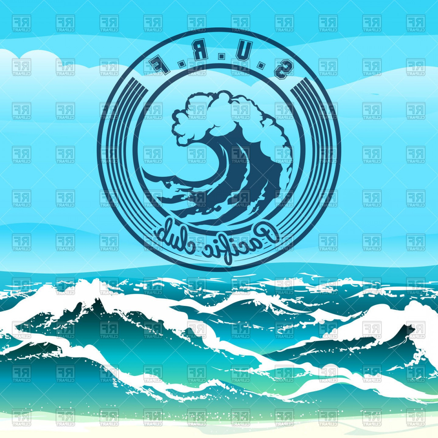 Waves With Surfer Silhouette Vector: Surf Club Emblem Stormy Tropical Seascape And Wave Vector Clipart