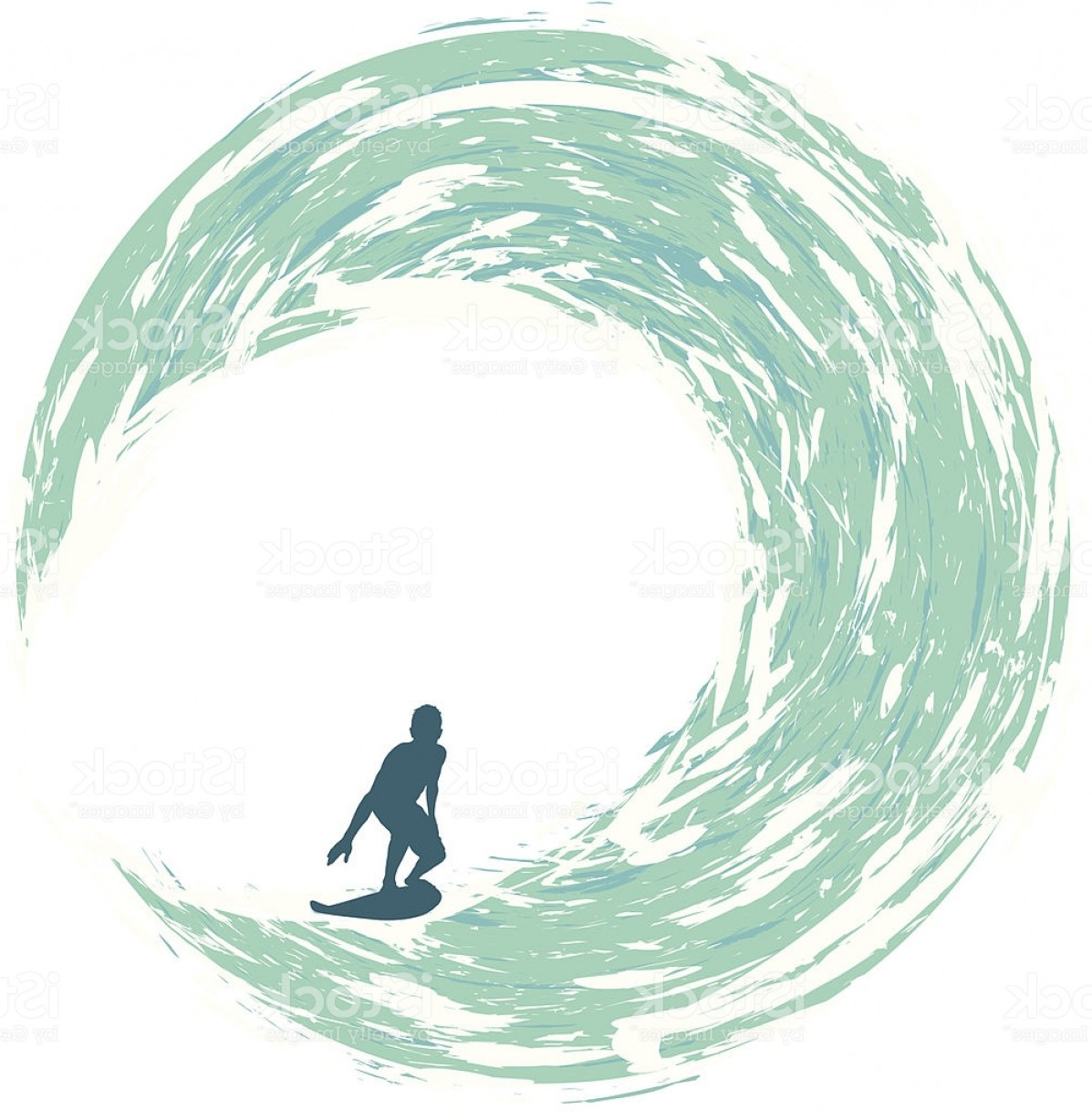 Waves With Surfer Silhouette Vector: Surfer Riding On A Circular Wave Gm