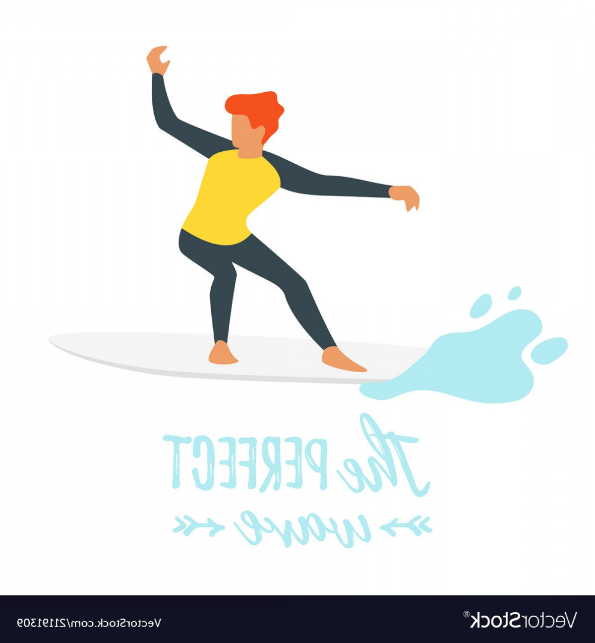 Waves With Surfer Silhouette Vector: Surfer Silhouette With Wave Vector