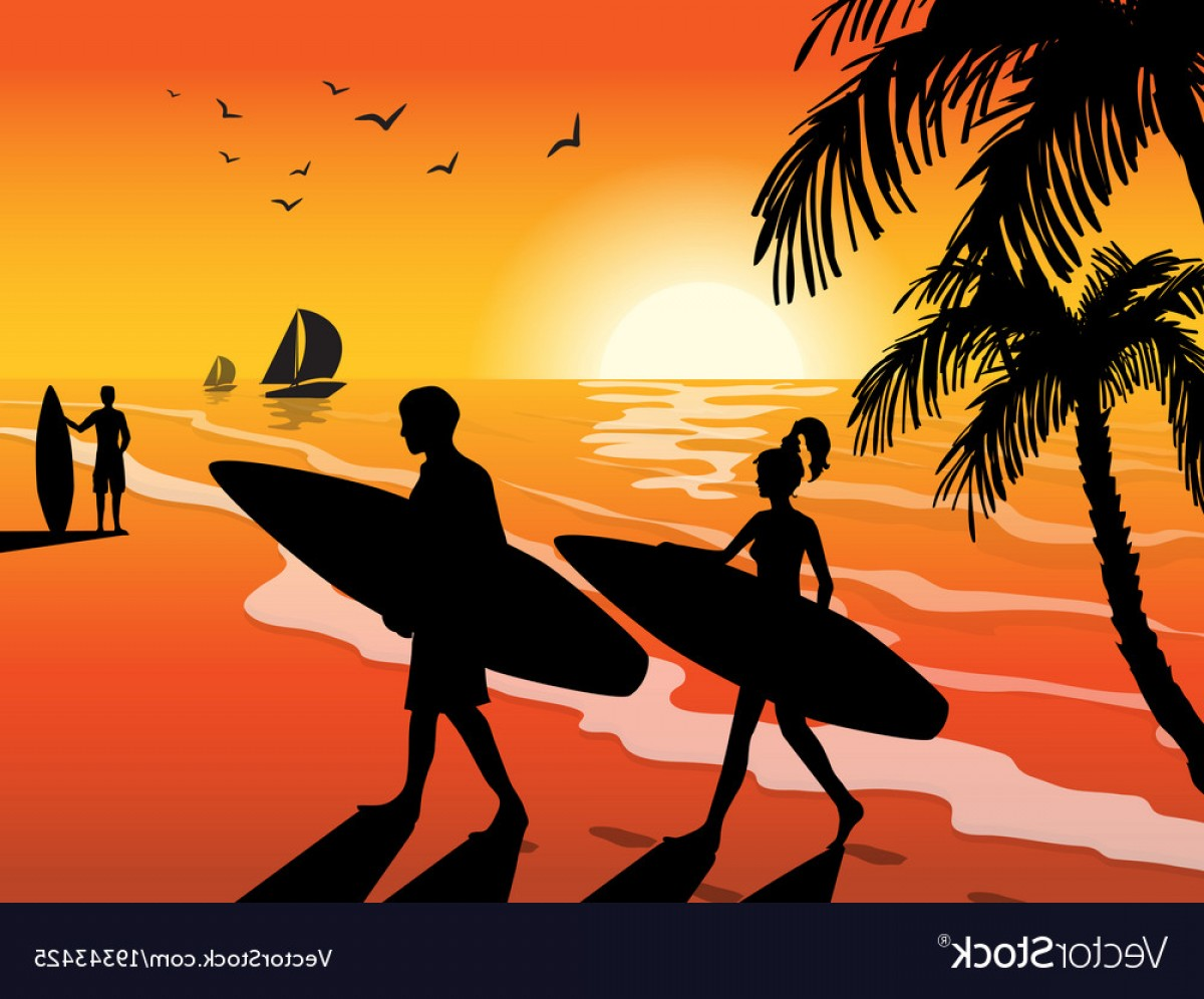 Surfer Beach Sunset Vector: Surfers Beach And Sunset Background Vector