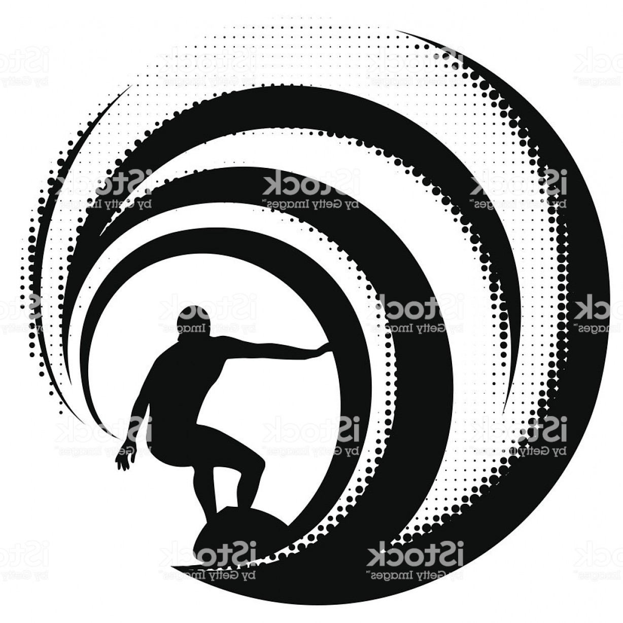 Waves With Surfer Silhouette Vector: Surfing On A Big Wave Gm