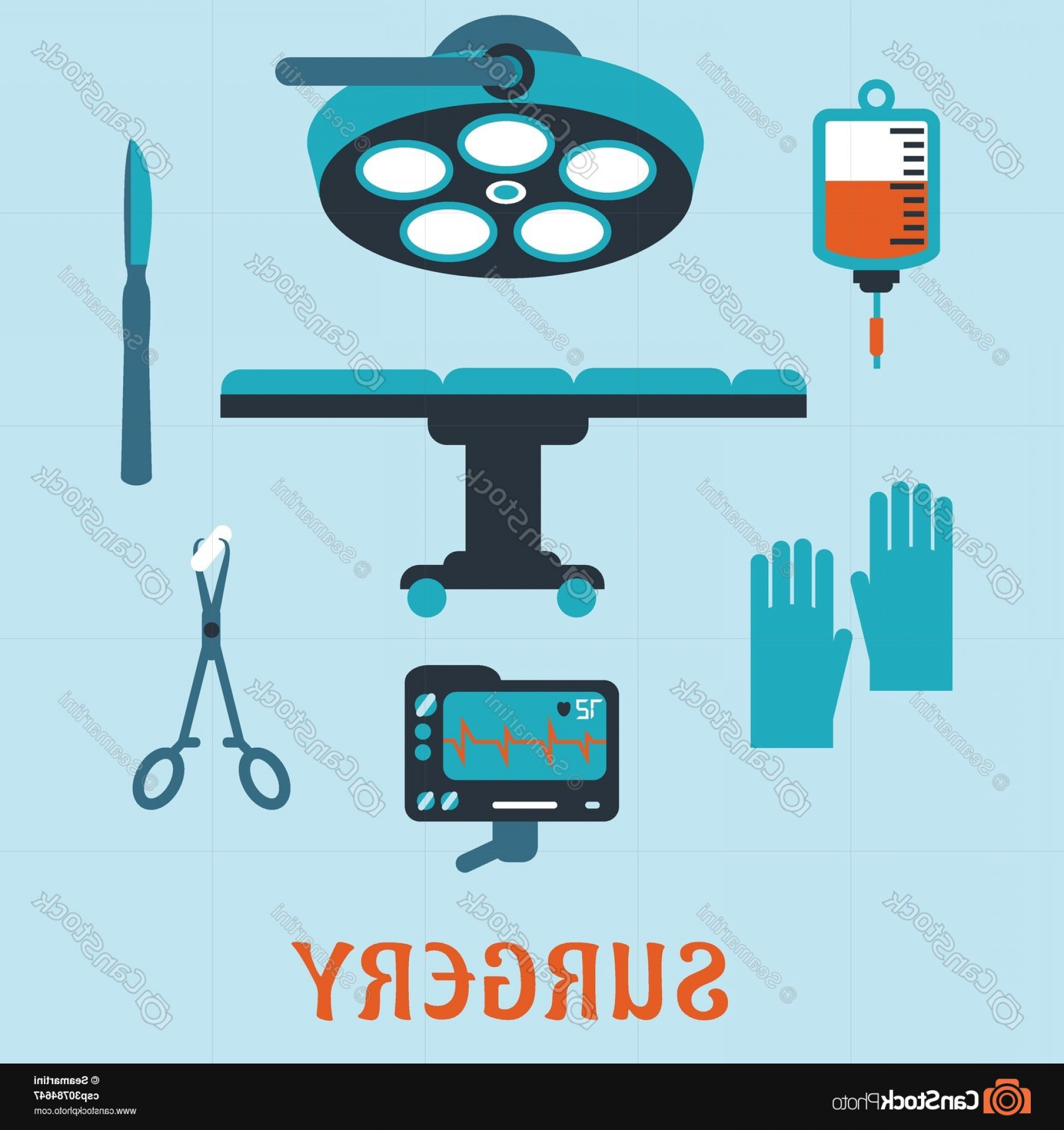 Surgery Icon Vector: Surgery Flat Icons With Operating Room