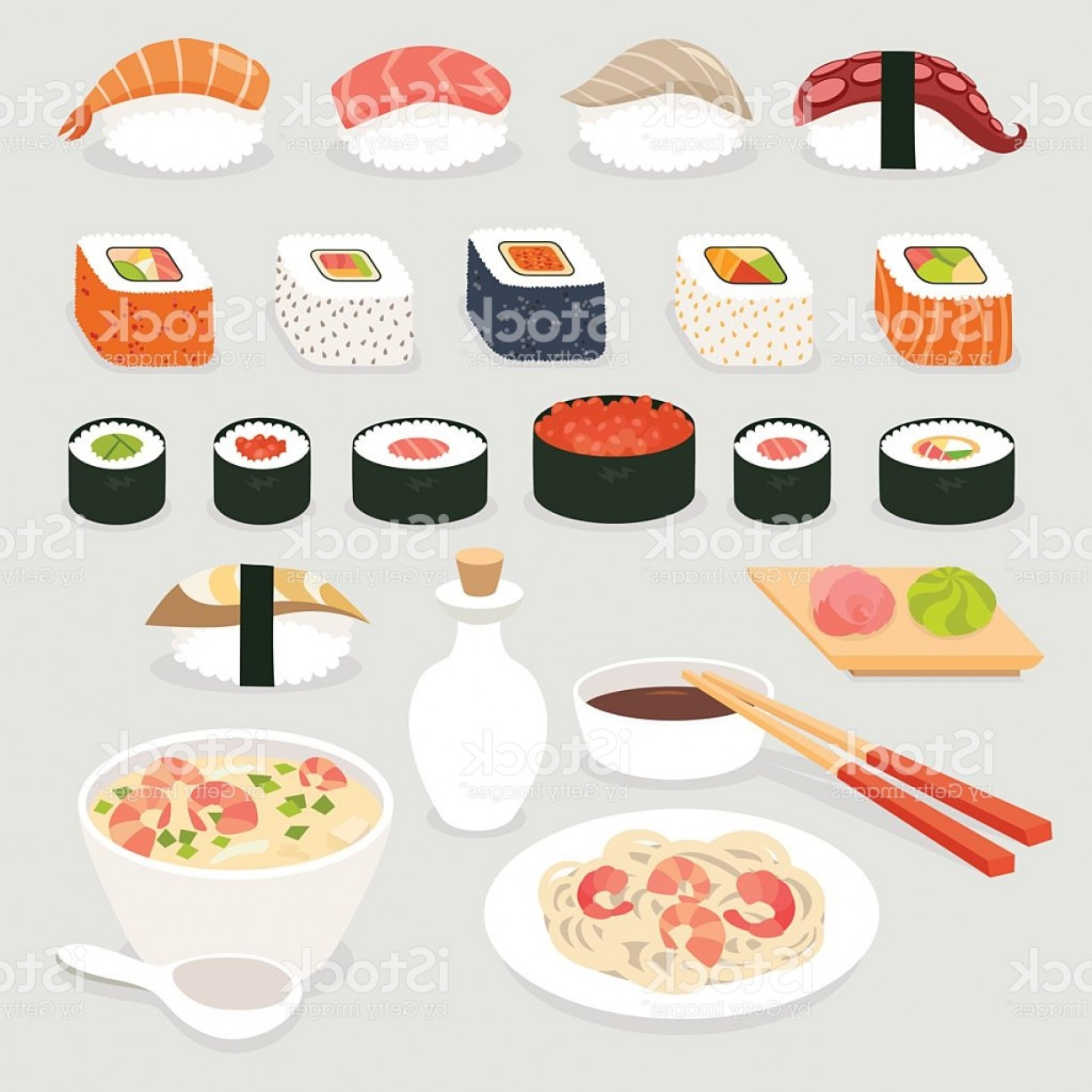 Sushi Vector Art: Sushi Set Sushi Vector Cartoon Style Japanese Food Objects Set Gm