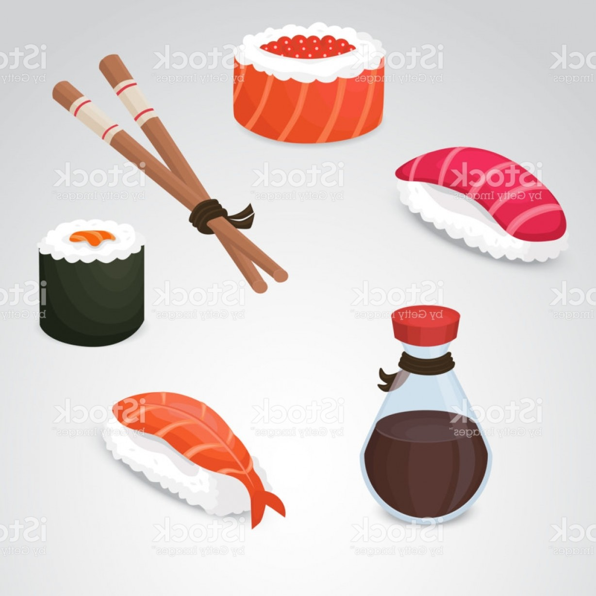 Sushi Vector Art: Sushi Vector Icon Set Gm