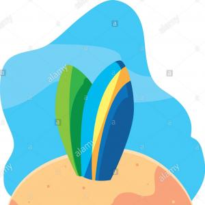 Surfboards Vector Design: Summer Background With Surfboard Vector Eps Ai File
