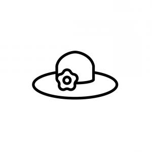 Vector Beach Hats: Sun Hat Icon Thin Line Black On White Background Vector