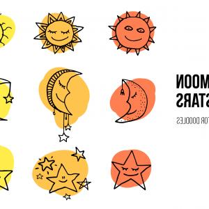 Moon And Stars Vector: Sun Moon And Stars Vector Doodles