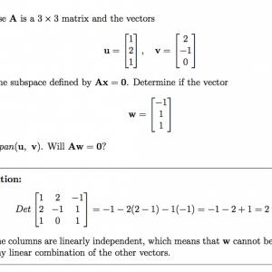 Matrix-Vector Multiplication Calculator: Suppose Times Matrix Vectors U V Span Subspace Defined Ax Determine Vect Q