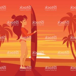 Surfer Beach Sunset Vector: Surfer Girl With Surfboard On Sunset Beach Vector Illustration Gm