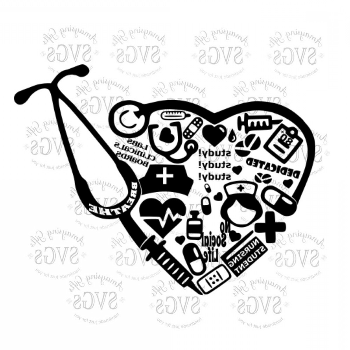 Nurse Vector Art SVG: Svg Nursing Student Collage Nurse Lpn Rn