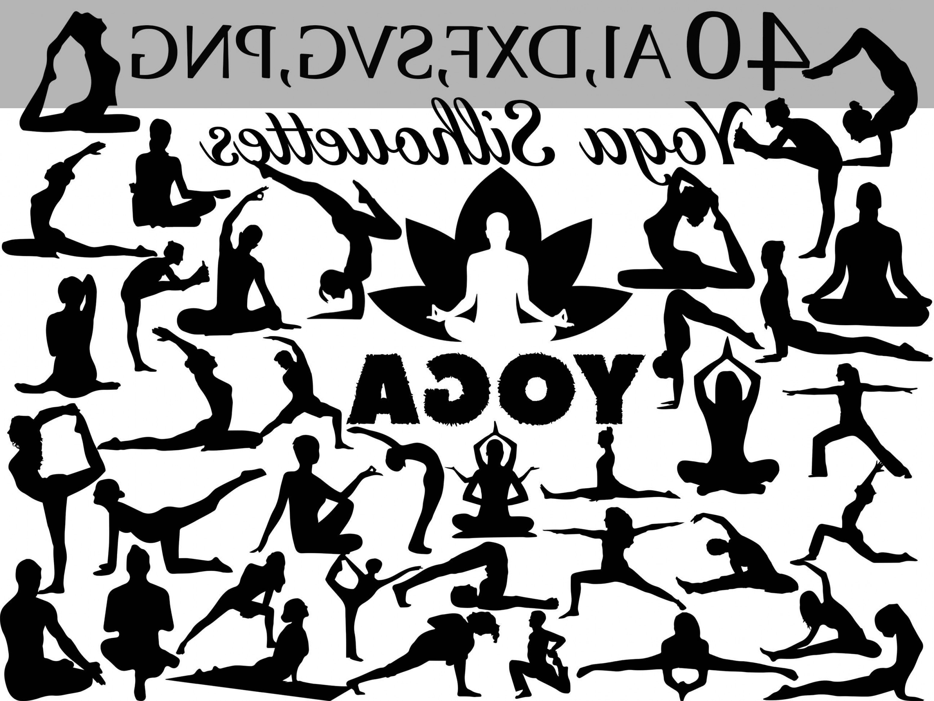 Yoga Vector Silhouette SVG: Svg Yoga Clipart Yoga Silhouettes Fitnes