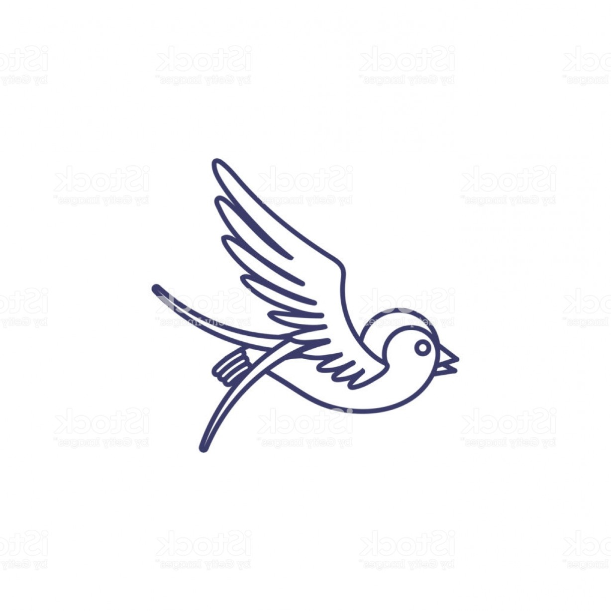 Swallow Vector: Swallow Icon Isolated On White Background Tattoo Style Swallow Vector Linear Symbol Gm