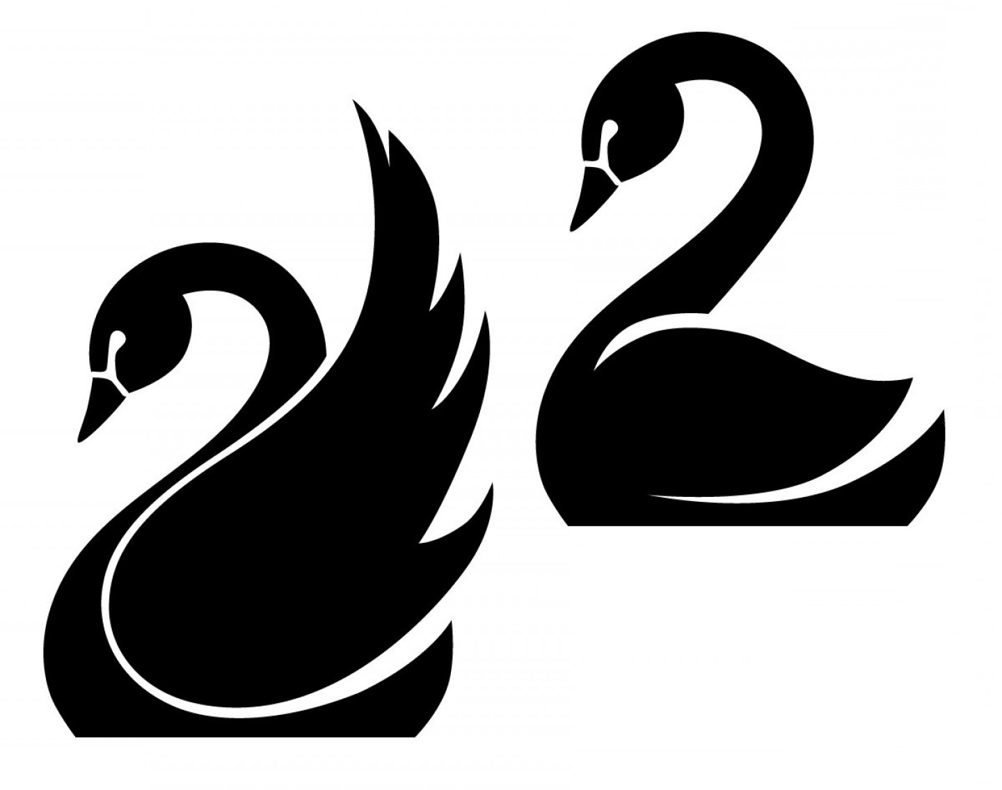 Swan Silhouette Vector: Swans Dxf Svg Eps Png File For Use With