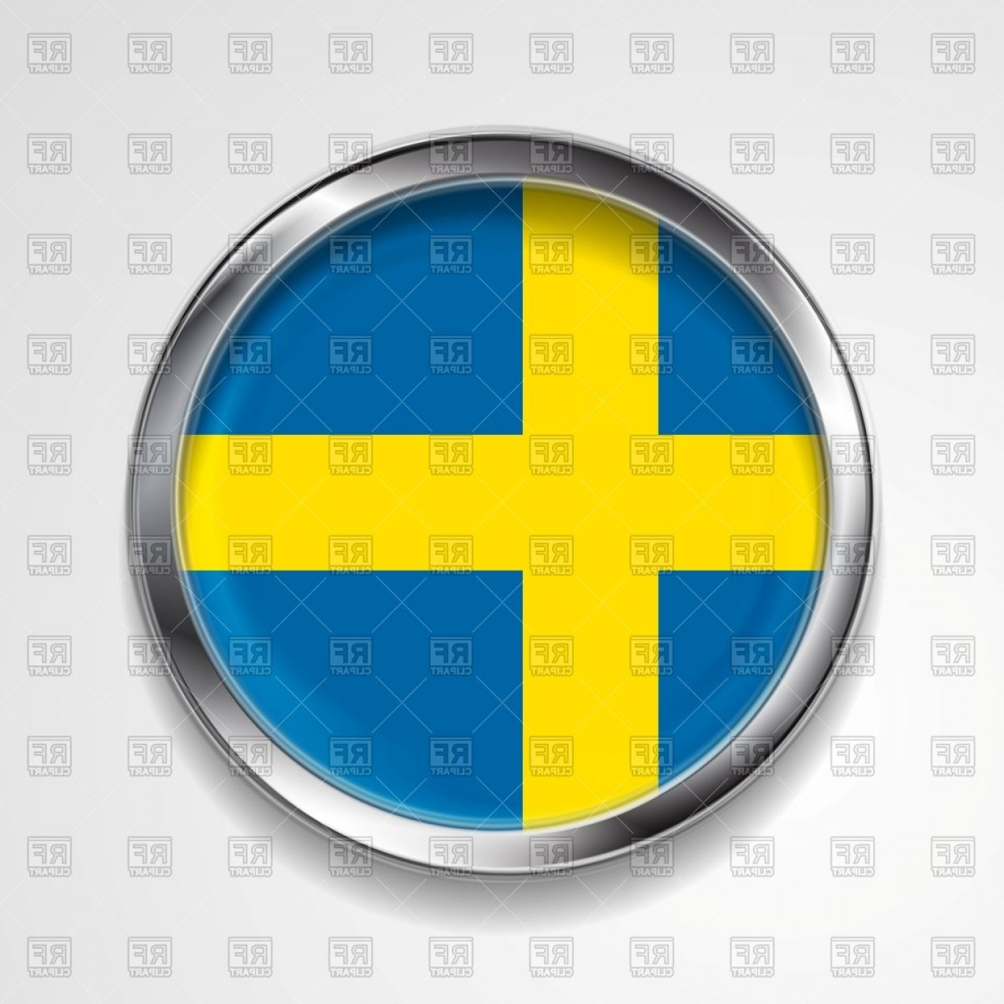 Metal Button Vector: Swedish Flag Round Metal Button Vector Clipart