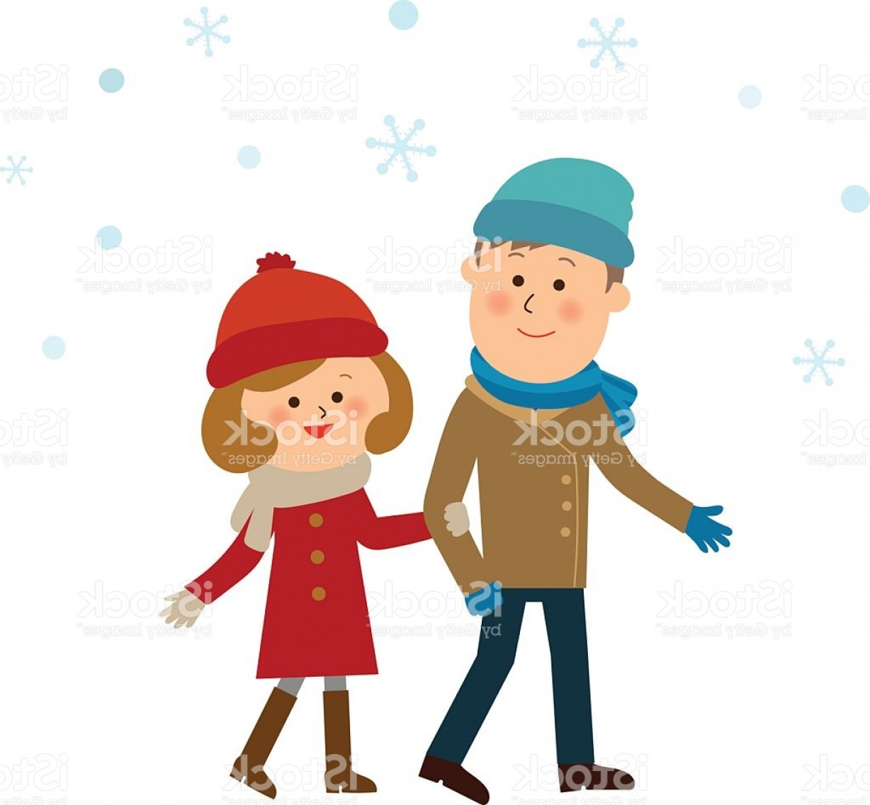 Powder Coating Vector Art: Sweet Couple In The Snow Gm