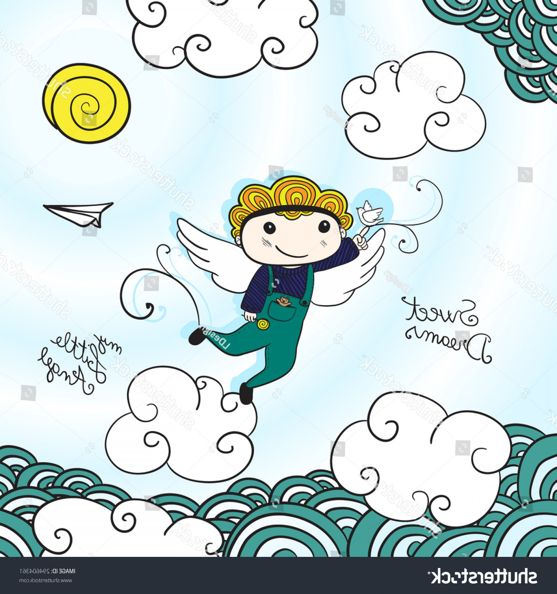 Little Angel Vector: Sweet Dreams Little Angel Vector Illustration