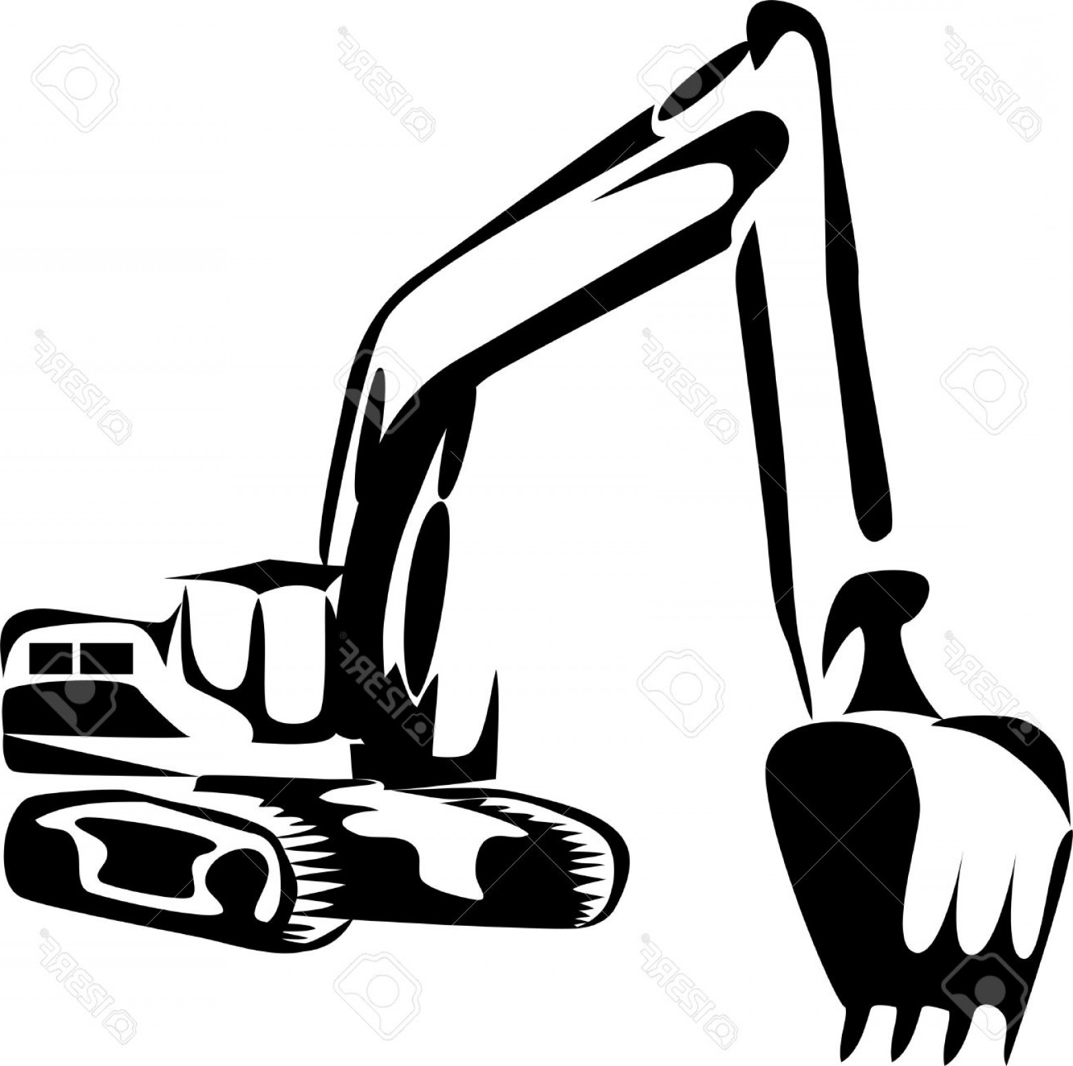 Caterpillar Trackhoe Vector: Sweet Looking Excavator Clipart Illustration Royalty Free Cliparts Vectors And Stock