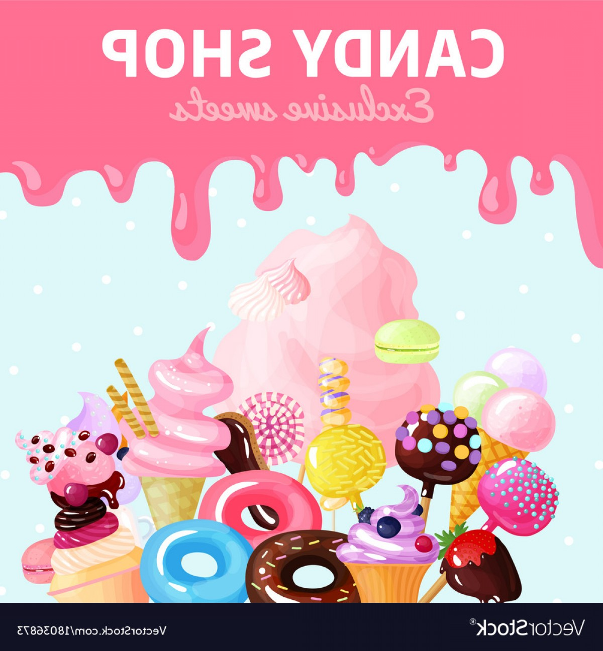 Candy Shop Vector: Sweets Candy Shop Poster Vector