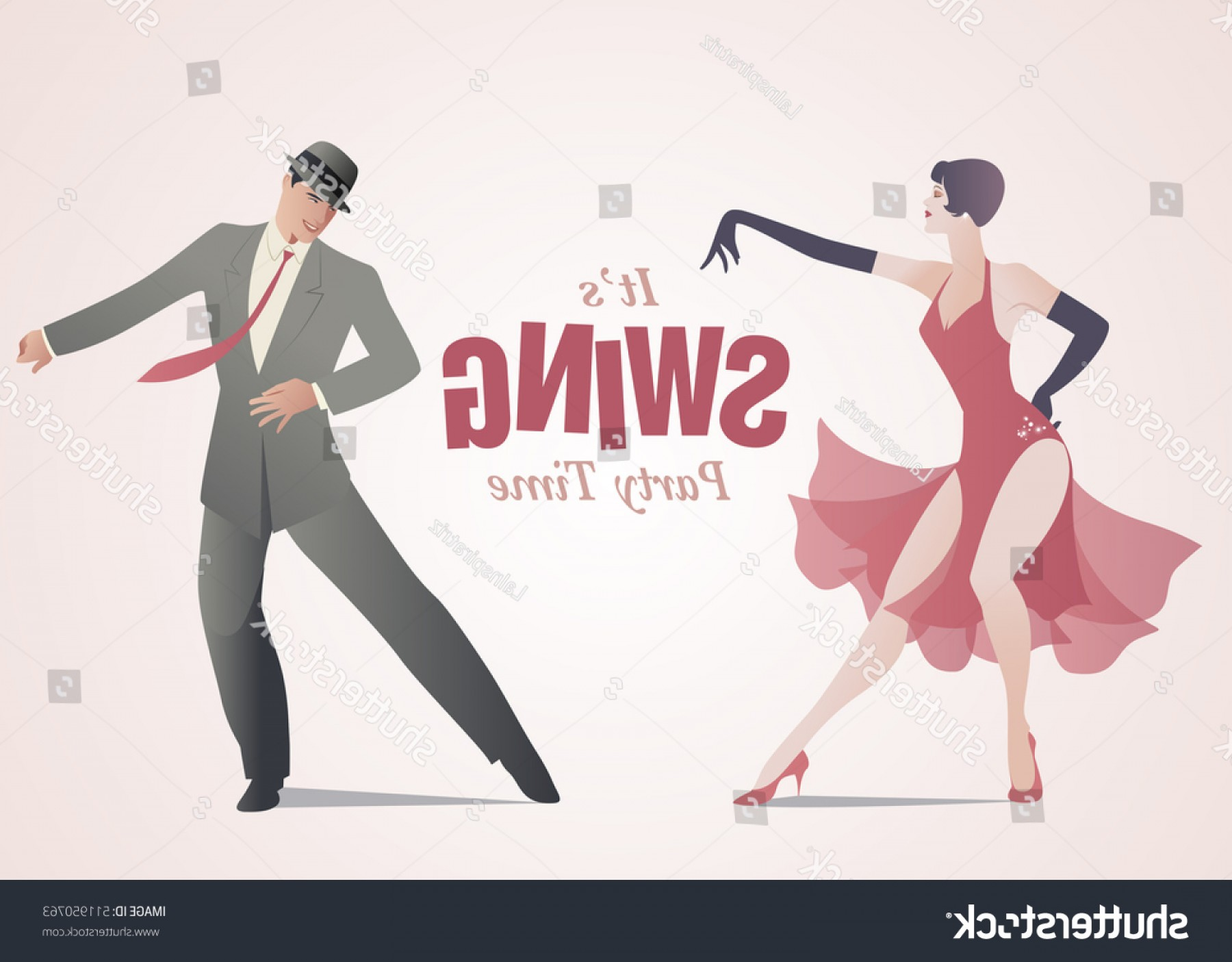 Vector Swing Dancers: Swing Party Time Elegant Couple Dressed