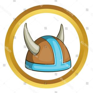 Viking Helmet Vector Art: Swedish Viking Helmet Vector Icon Golden