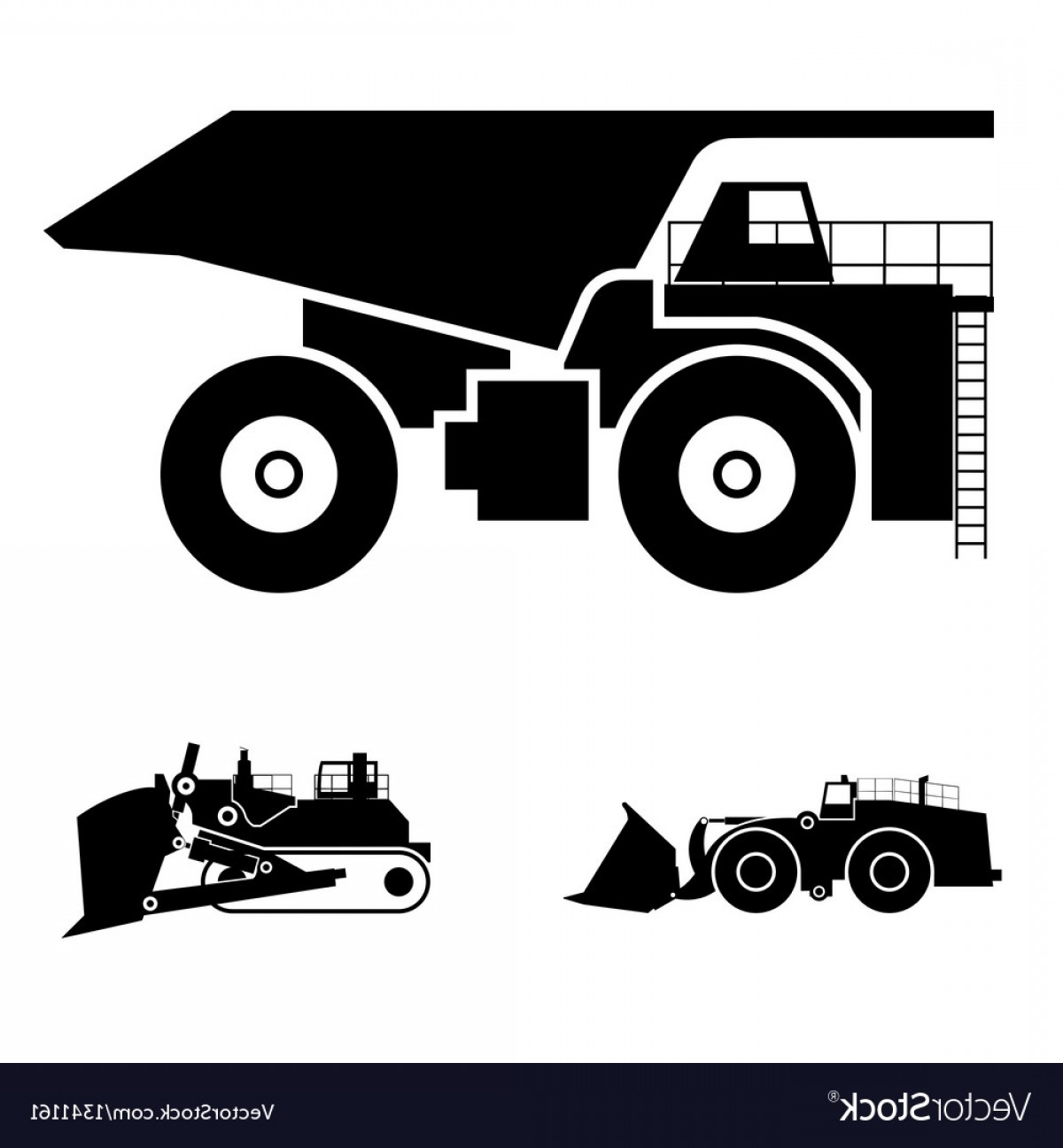 Dump Truck Vector Black And White: Symbol And A Bulldozer And Dump Truck Vector