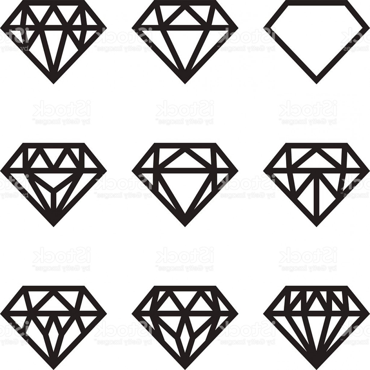 Black Diamond Vector Clip Art: Symbol Of Diamond Vector Set Gm