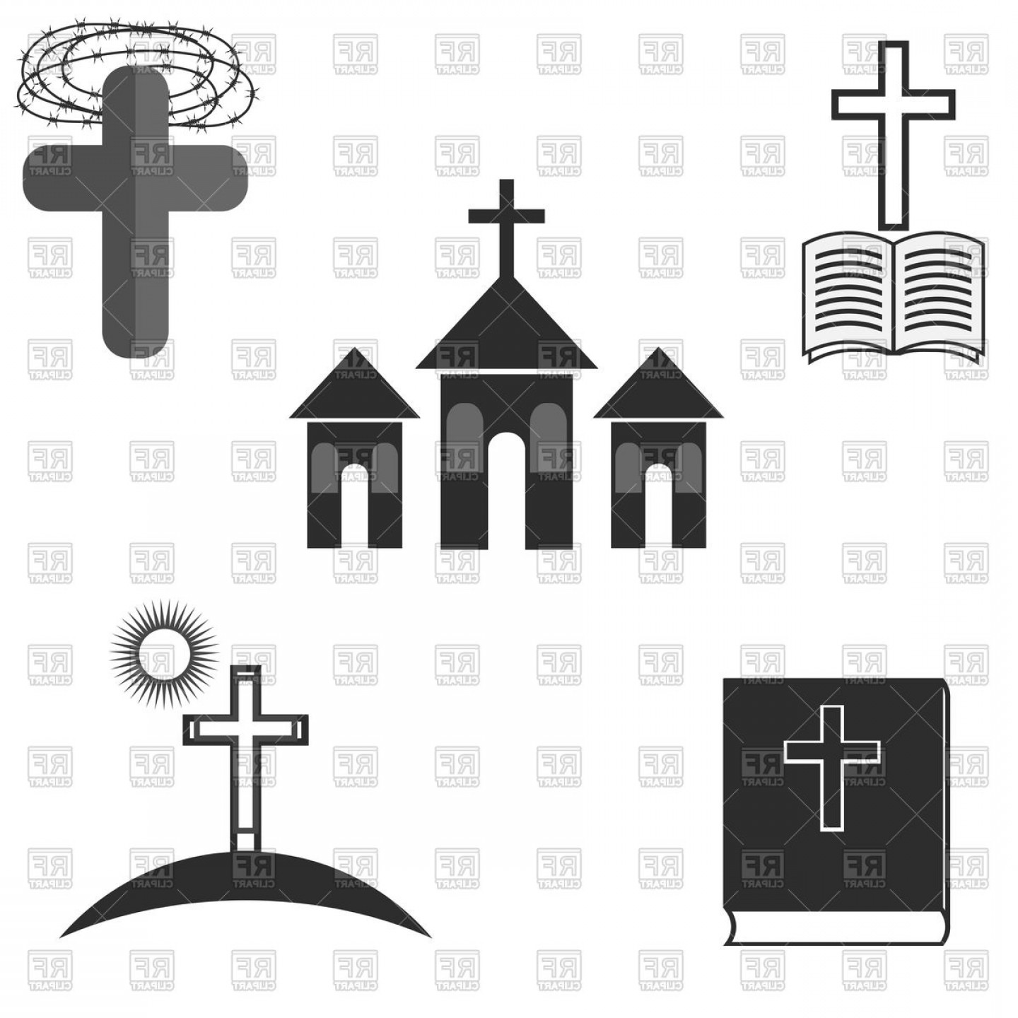 Vector Religion: Symbols Of Christianity Catholic Religion Church Cross And Bible Vector Clipart