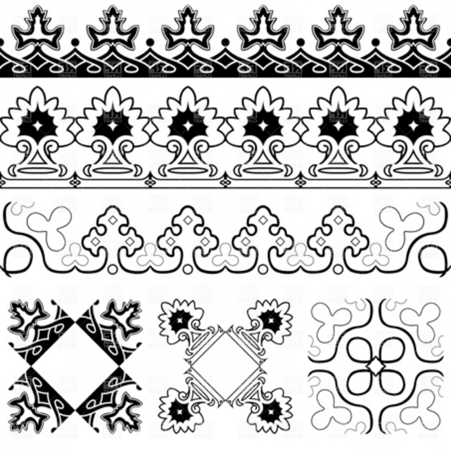Free EPS Vector Art: Symmetrical Design Elements Vector Clipart