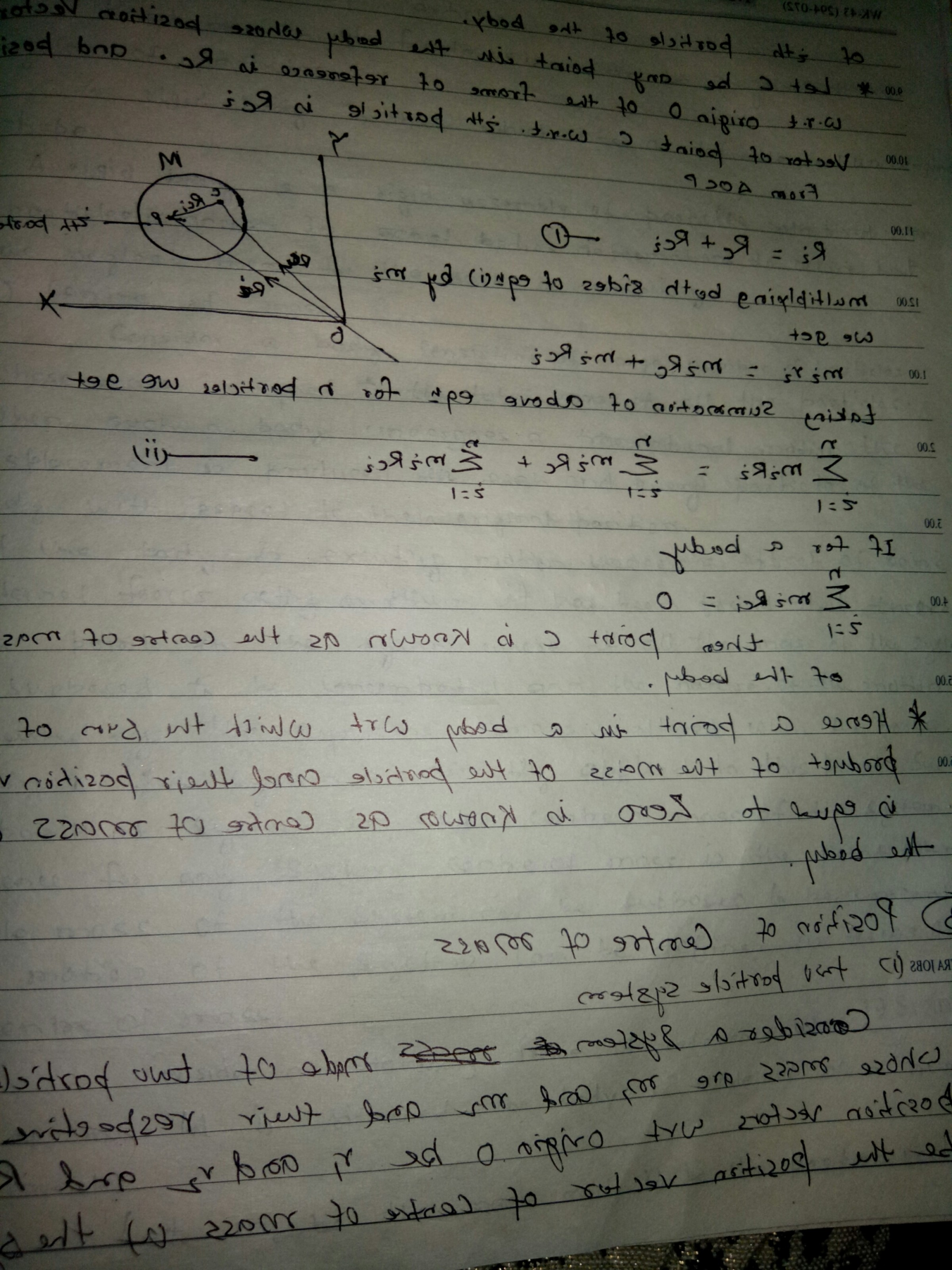 Zero Position Vector: System Of Particles Centre Of Mass