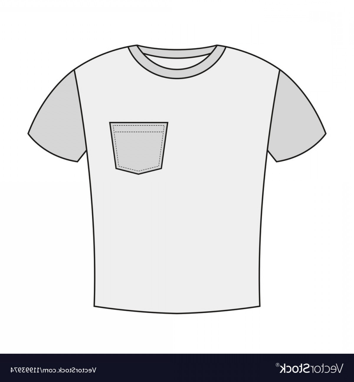 Vector Pocket Silhouette Shirt: T Shirt With A Pocket Isolated On White Vector