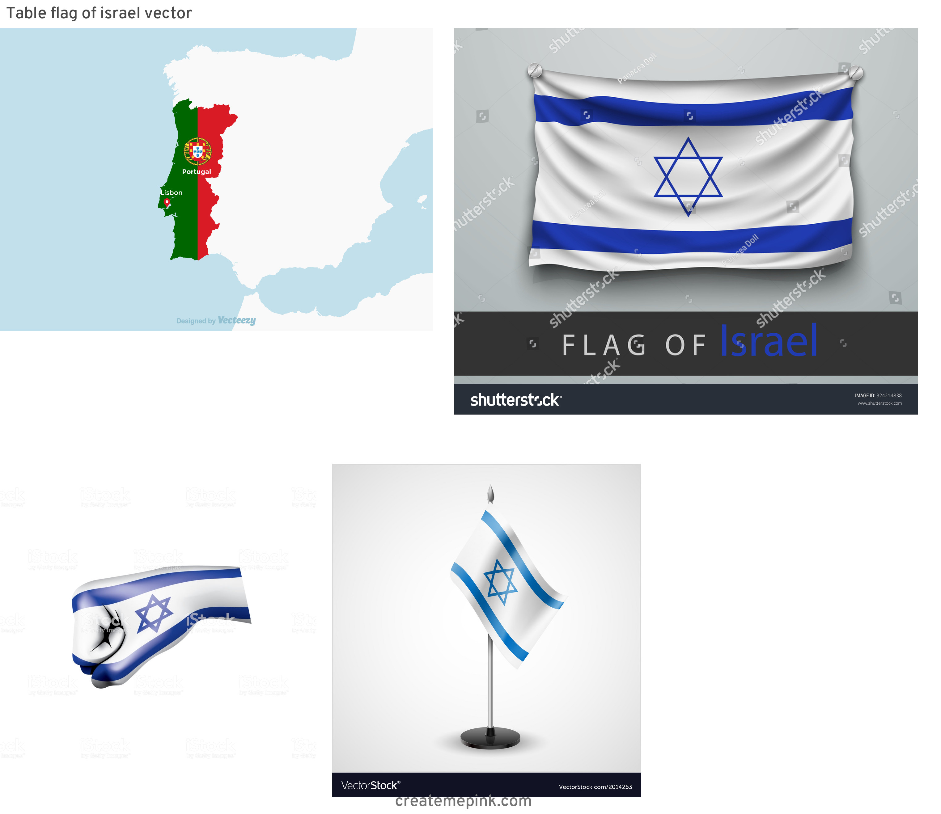 Israel And New Jersey Flag Vector: Table Flag Of Israel Vector