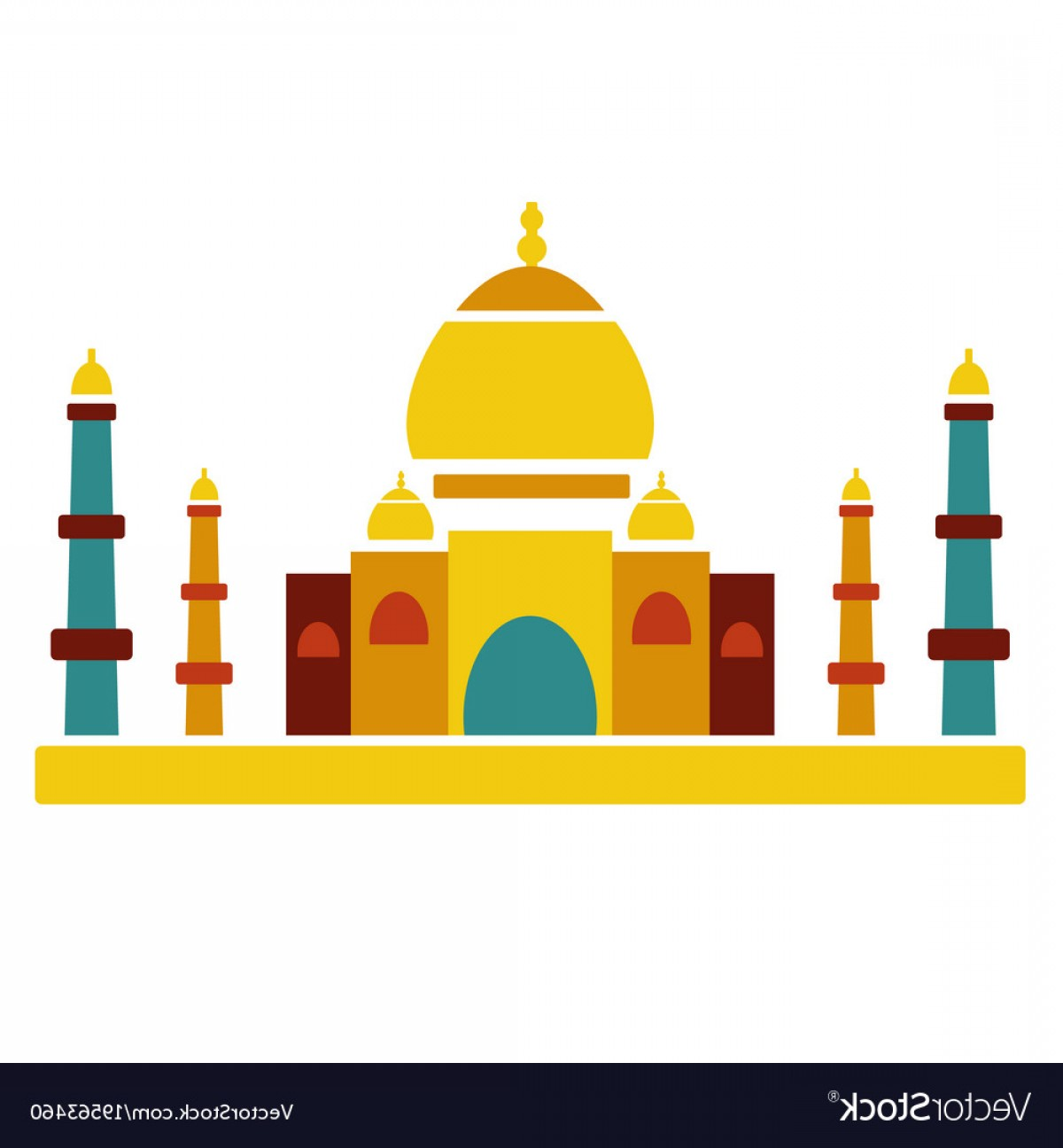 Taj Mahal Vector: Taj Mahal Famous Culture Indian Architecture Vector