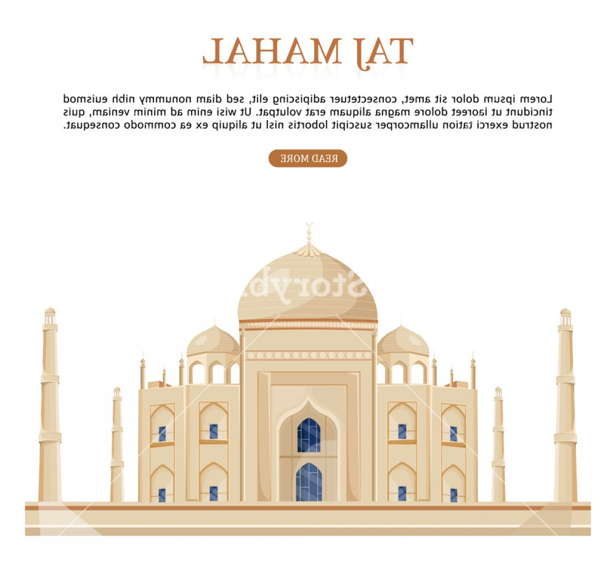 Taj Mahal Vector: Taj Mahal India Famous Building Attraction Vector Isolated Illustration Hmzuwslxjls