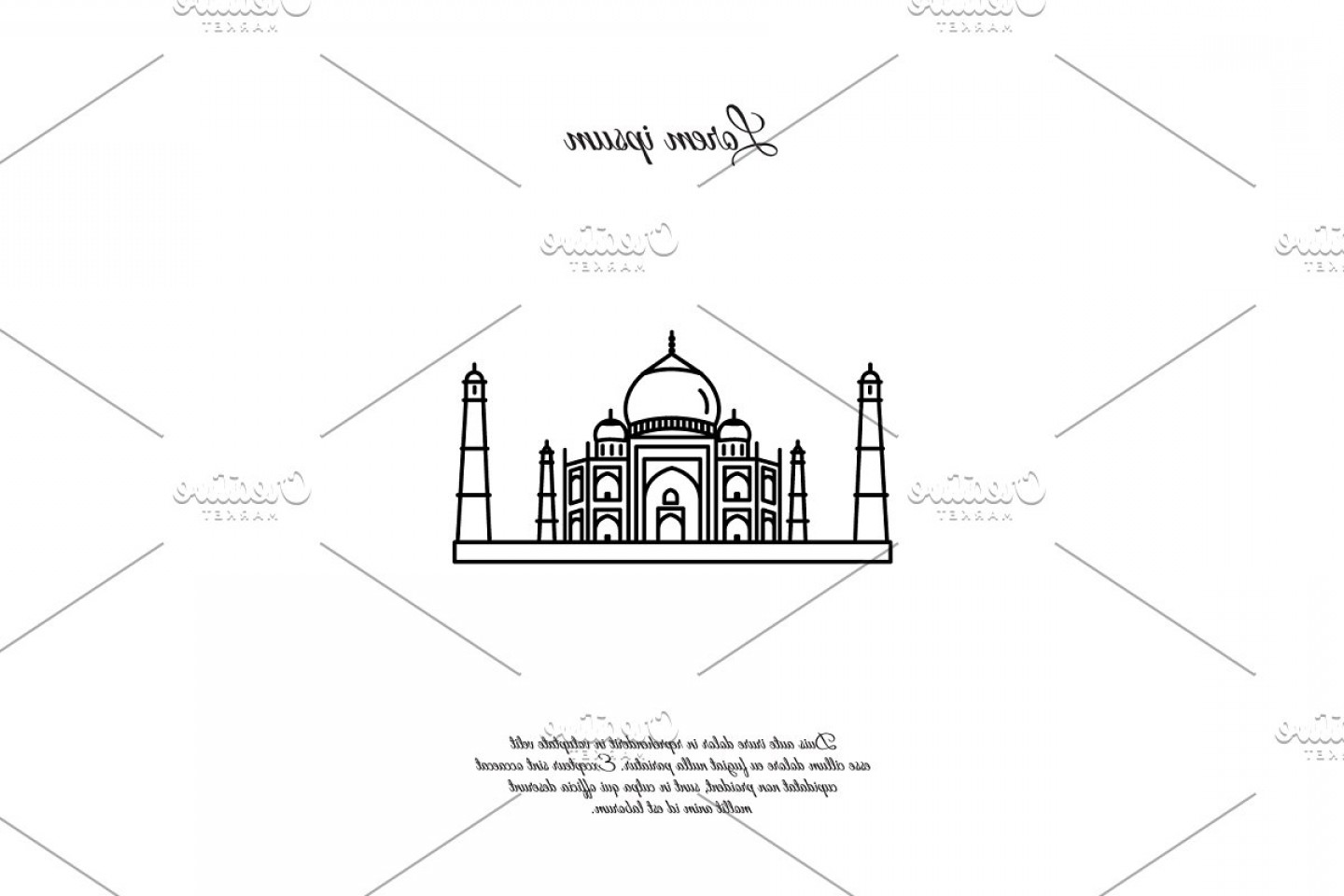 Taj Mahal Vector: Taj Mahal Vector Line Icon Sign