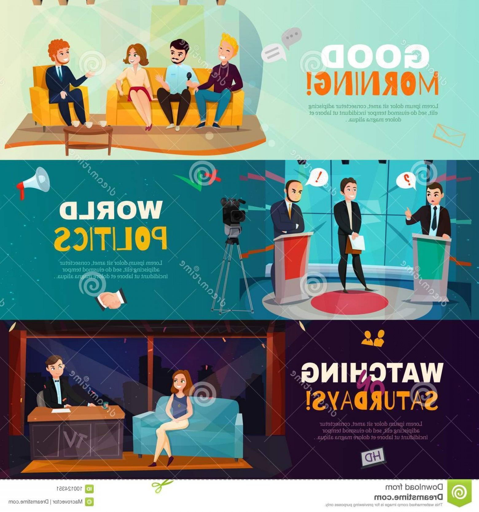 Talk Show Vector: Talk Show Banners Cartoon Set Three Colorful Horizontal Presenting Scenes Different Shows Isolated Vector Illustration Image