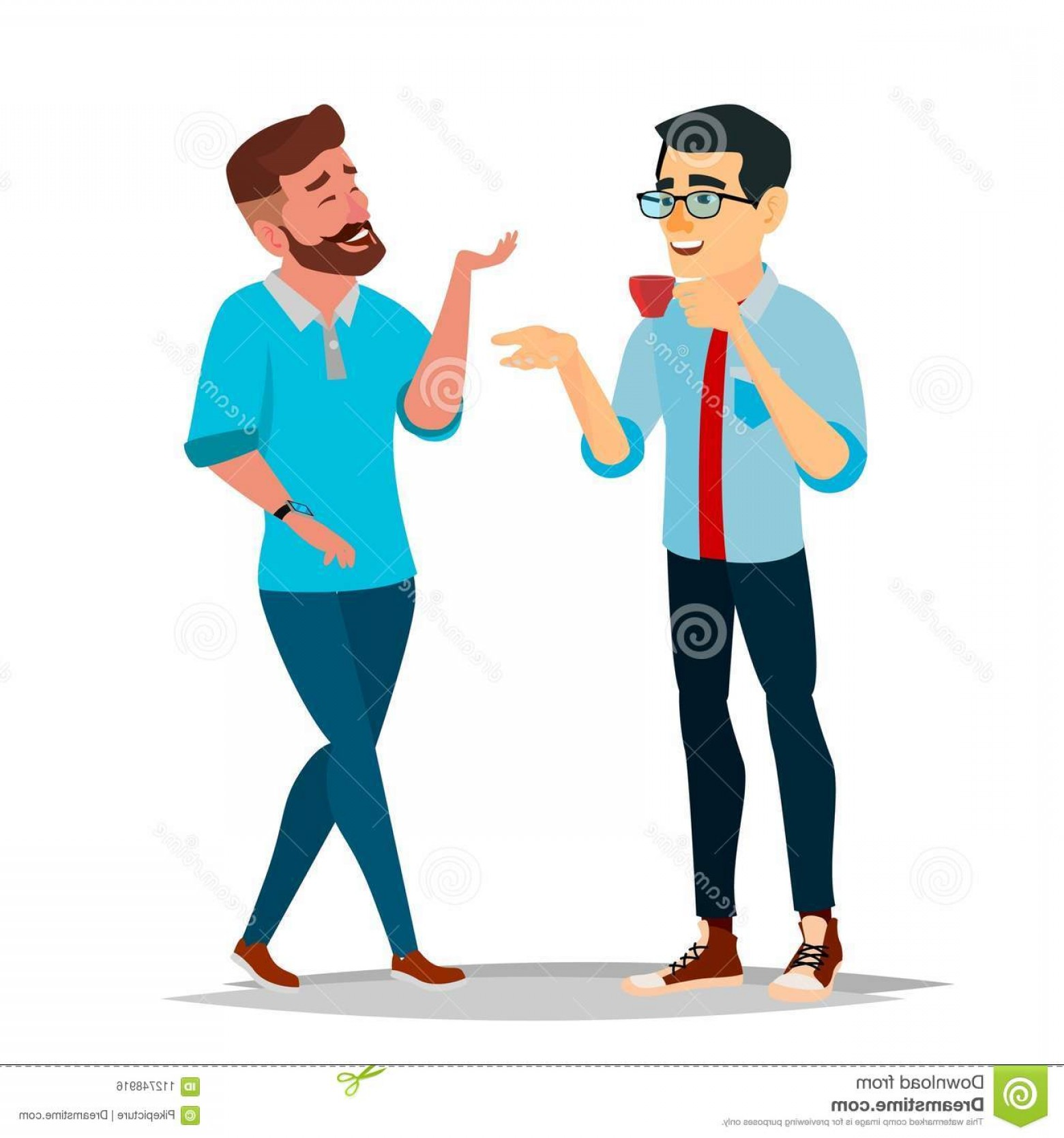 Two People Talking Vector Art: Talking Men Vector Laughing Friends Office Colleagues Communicating Male Meeting Conversation Analysis Concept Business Person Image